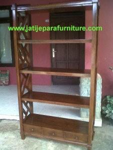 Lemari Buku Jati Minimalis JLB-03 Mebel Jepara Jati