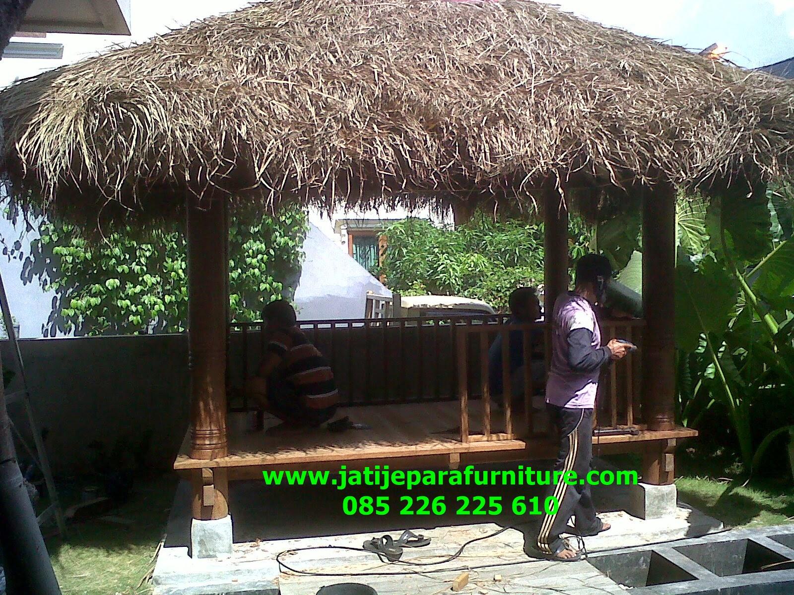 Gazebo Taman Rumah Kayu Kelapa Bandung Jawa Barat JGG 16 Jati
