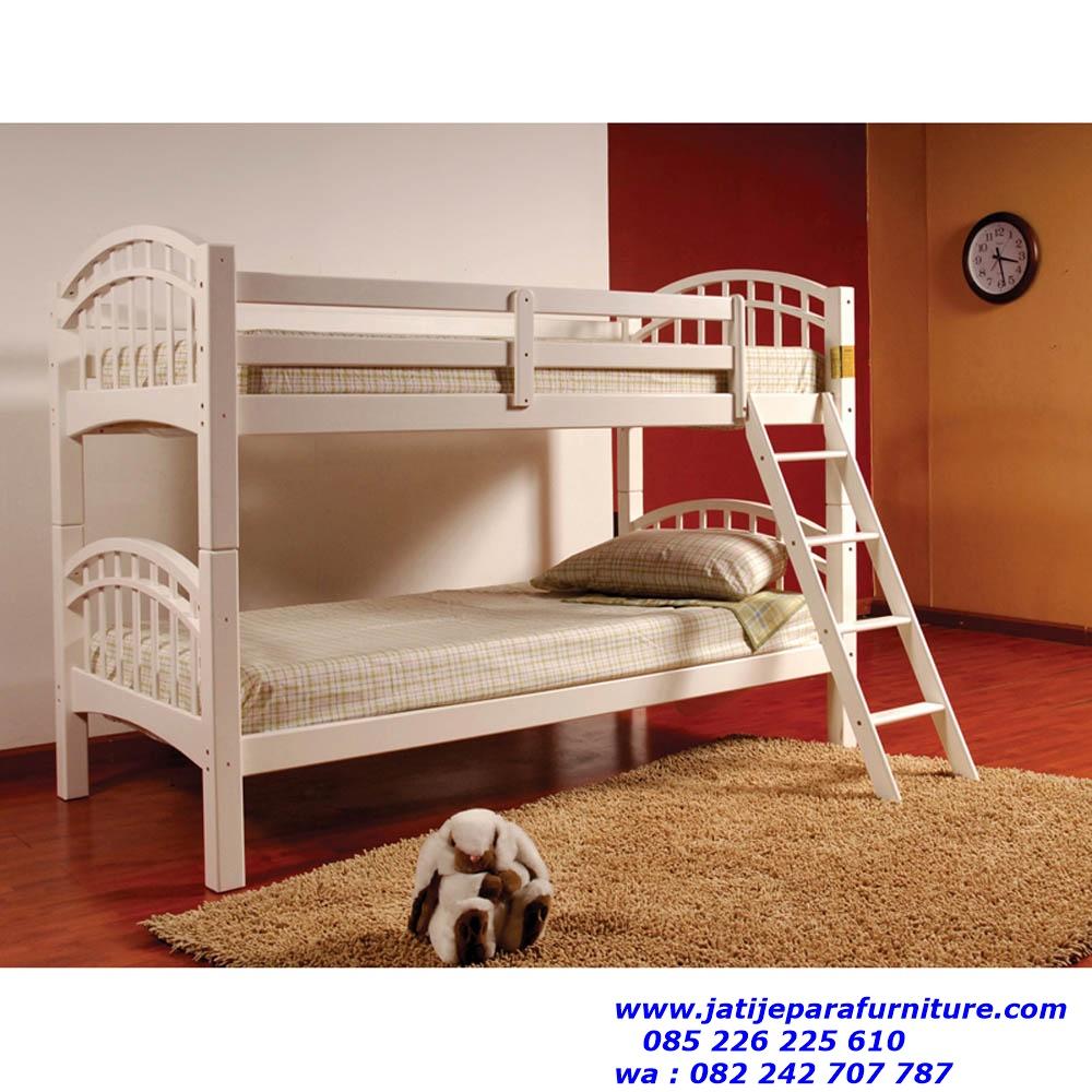 tempat tidur anak putih mewah terbaru model tingkat jual
