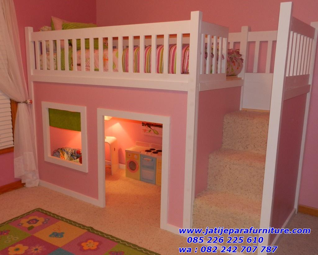 tempat tidur anak tingkat pink cantik jual tempat tidur